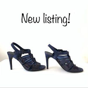 Bottega Veneta navy blue suede open toe heels